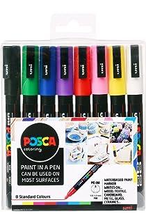 Posca 153544382 - Pack de 8 rotuladores de pintura al agua, multicolor: Amazon.es: Oficina y papelería