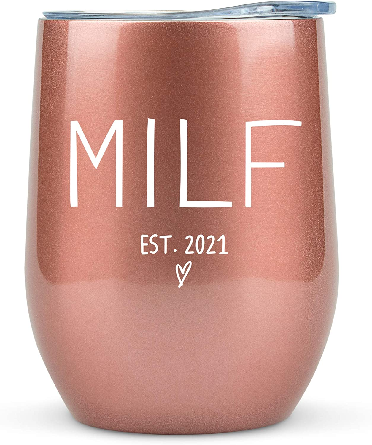 New Mom Gifts 2021 MILF - 12oz Wine/Coffee Tumbler/Mug - Funny Gift Idea for First Time Mom, Women, Basket, Mommy, Pregnancy, Push, Baby Shower Gifts, Glass, Mom to Be