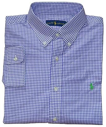 Polo Ralph Lauren Mens Gingham Poplin Sport Shirt, Purple Gingham (Small,  Light Blue