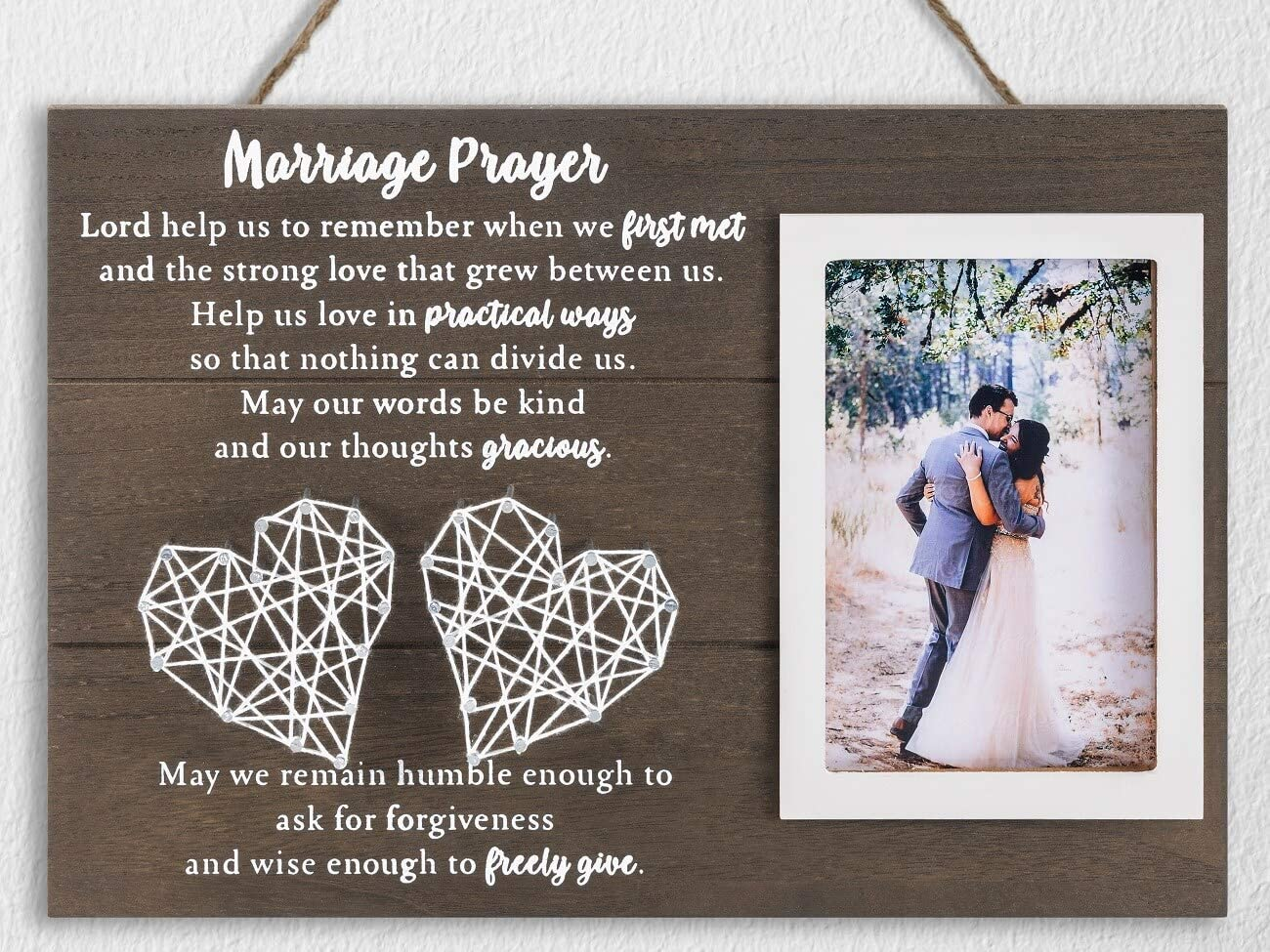 12.5×8.5 Marriage Prayer Wedding Gifts for Couples Anniversary, Rustic Wood Plaque Home Bedroom Wall Decor, Religious Engagement Gifts for Bride Her, Personalized Picture Frame & Handmade String Heart