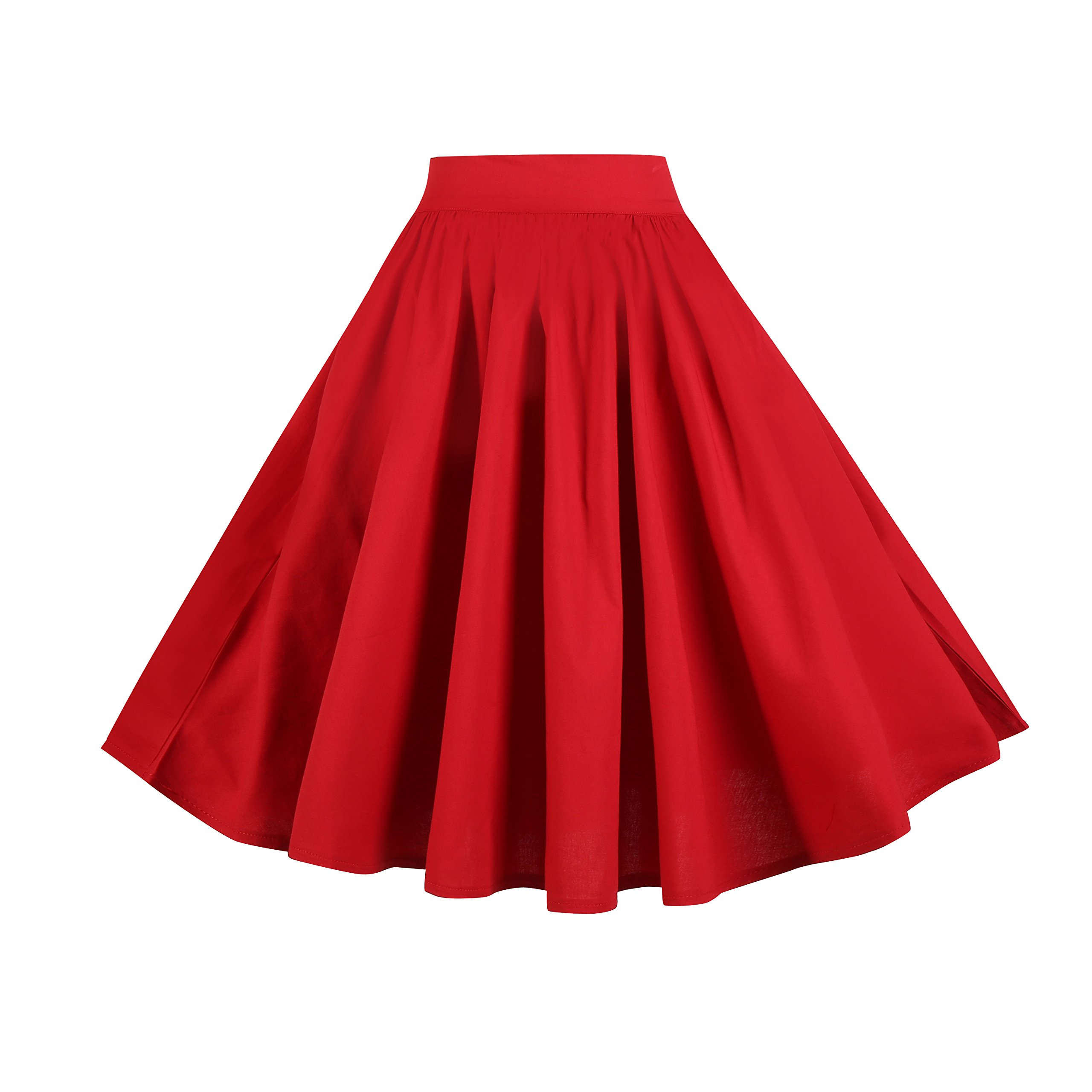 BI.TENCON Women's Vintage Red Pleated Flared Skater Skirt Dress with Pockets Knee Length Plus XL by BI.TENCON