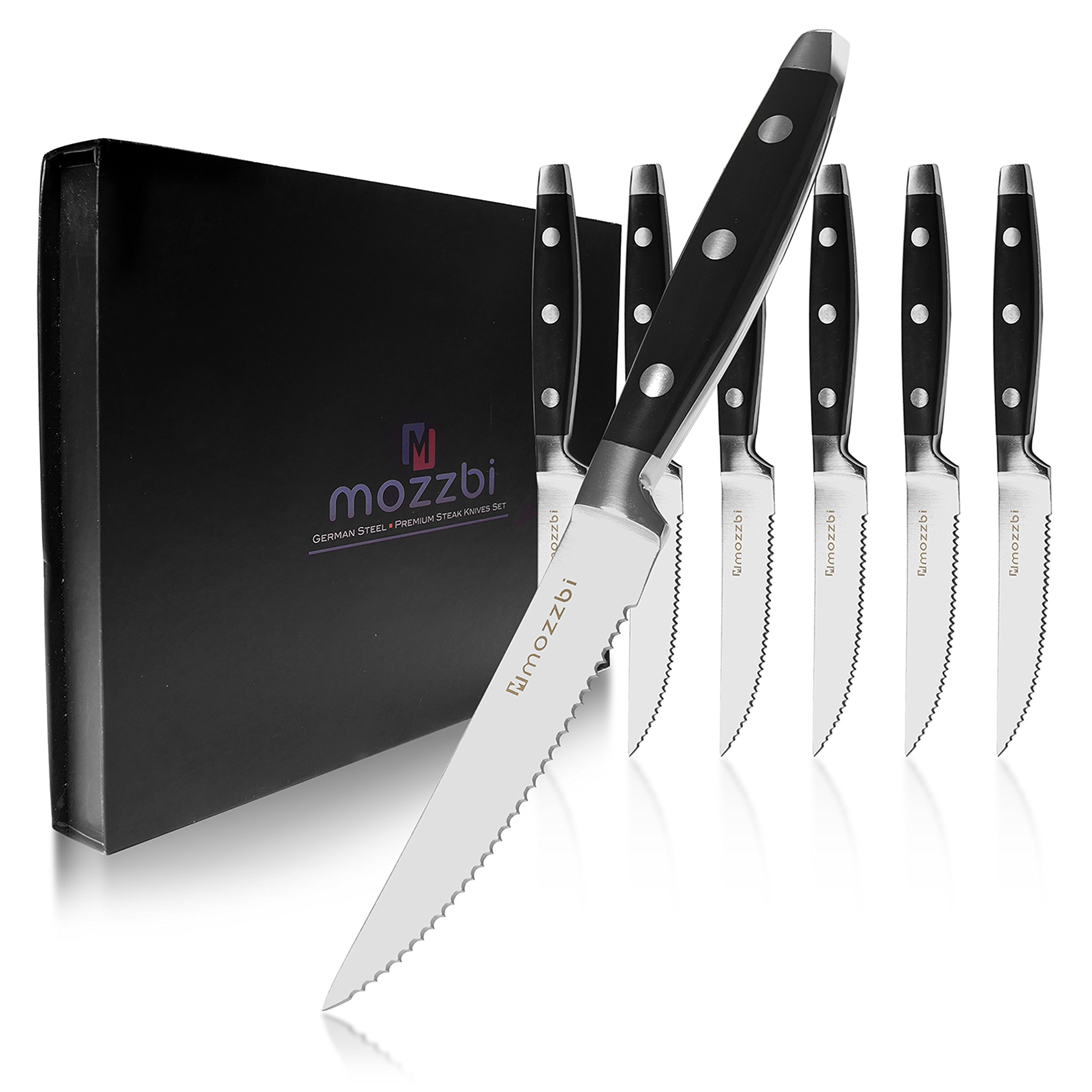 Premium Serrated Steak Knives 6-Piece Laser Cut Ultra-Sharp Stainless Steel Steak Knife, Cutlery Set,Dinner Knives Gift Set By Mozzbi.