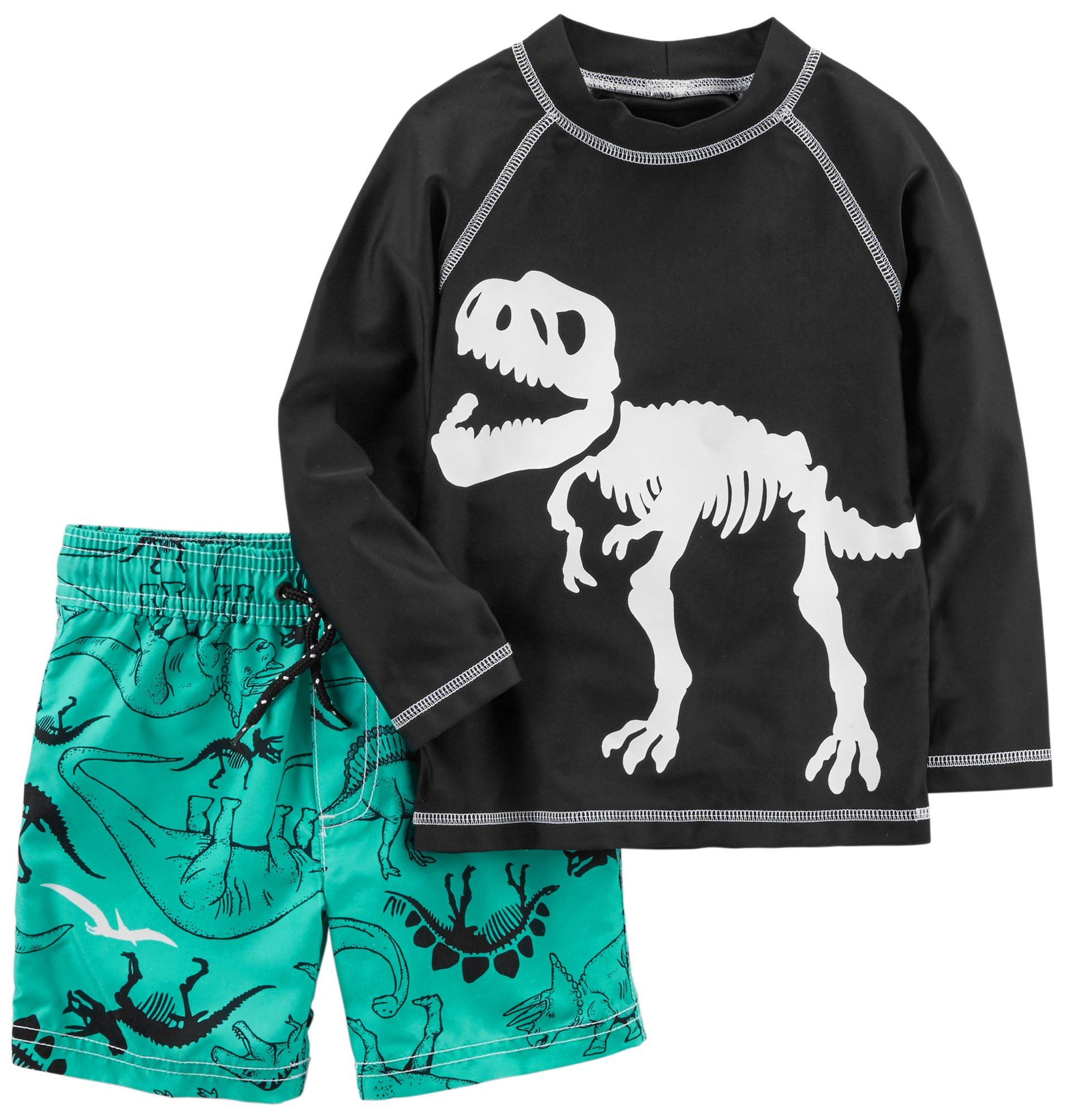 Carter's Boys' Toddler Rashguard Set, Black Dino, 2T