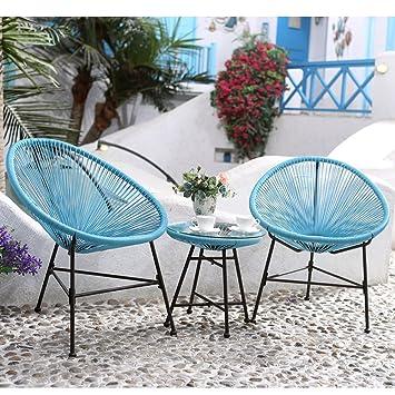 Salon de jardin fil scoubidou résine tendue 2 fauteuils et ...