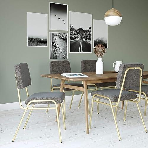 Novogratz Lex Upholstered Dining Chair, Gold Frame Light Grey Linen Upholstery