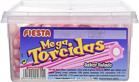 FIESTA Mega Torcidas Regaliz Dulce Relleno Sabor Helado de Fresa - Envase de 60 unidades