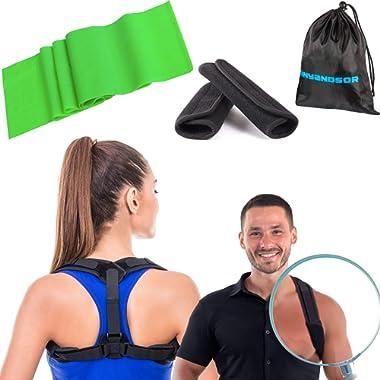 Posture Corrector for Women and Men Body Wellness Posture Corrector Corrector de postura Fully Adjustable Back Brace for Neck Shoulder Back Pain Relief (Rezistance Band)
