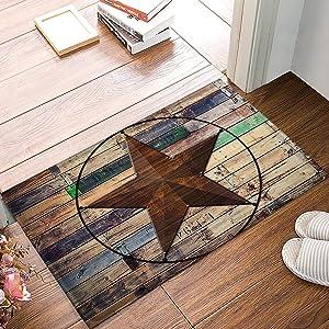 Rustic Vintage Texas Star Barn Wooden Doormat Door Mat Rug Outdoor/Indoor,for Home/Office/Bedroom