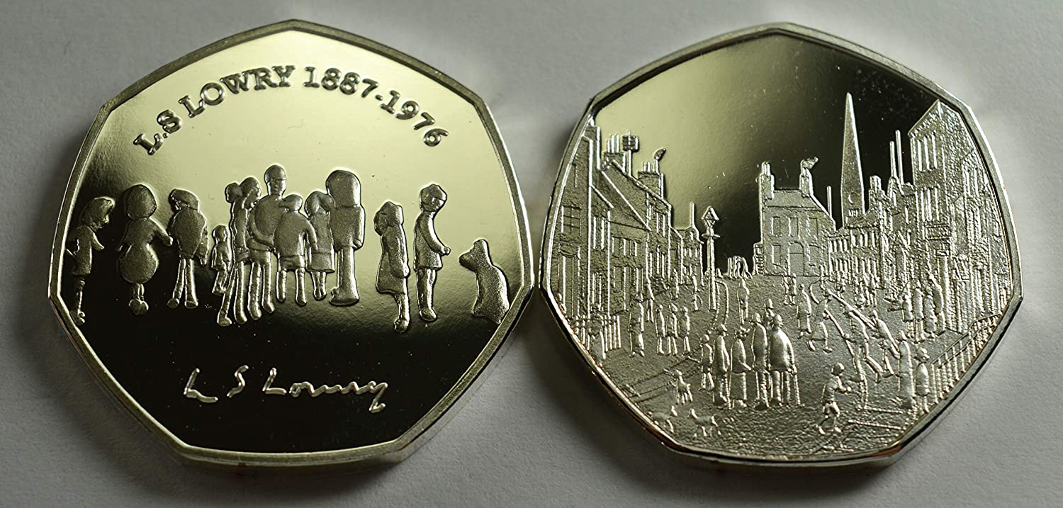 Coin Hunt Matchstick Men LOWRY Silver /& 24ct Gold Commemorative Coins Albums//50p Collectors Pair of L.S Art//Artist Manchester