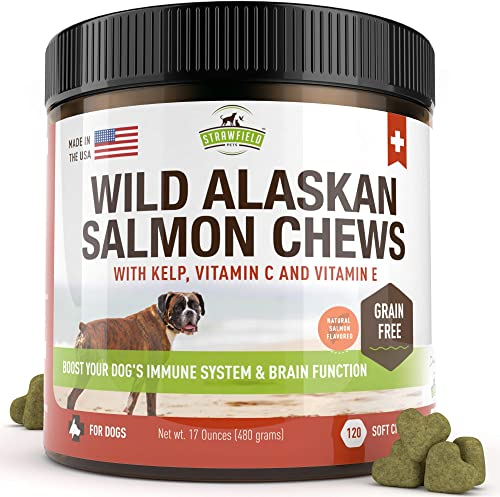 Salmon Oil for Dogs – Grain Free Dog Treats, 120 Chews – Omega 3 Fish Oil Pet Supplement for Joint Support, Shedding, Healthy Coat, Itching Skin Allergy Relief, Arthritis Pain, Anti Inflammatory, USA