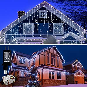 Icicle Lights Outdoor Christmas Lights 400 Led String Lights Curtain Fairy Light with 75 Drops, 33ft 8 Modes Decor for Christmas Thanksgiving Xmas Holiday Decorations, Cool White