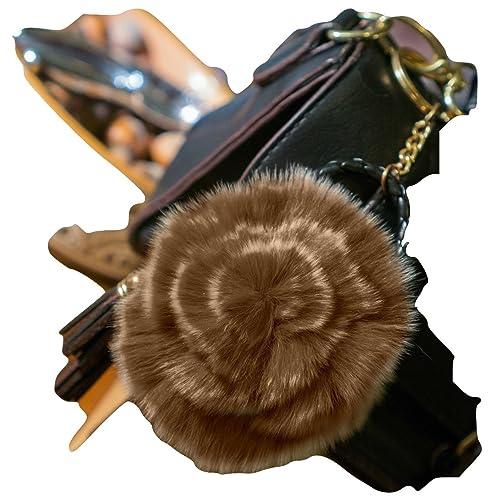 3para 2Rose de llavero, bolso de mano de piel de venta. Encanto, accesorio de moda, pelo de animales...