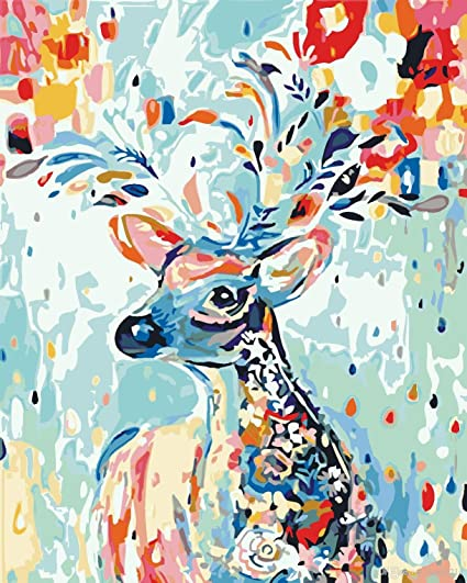 "Amazon.com: DIY Paint by Numbers Kit for Adults - White Deer | Paint by  Number Kit On Canvas for Beginners | Home Wall Decor | Pre-Printed  Art-Quality Canvas 20"" x 16"", 3 Brushes, 24 Acrylic Paints"
