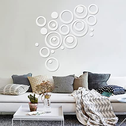 Omgai circle diy wall stickers removable round acrylic wall decals for nursery home and kitchen decoration