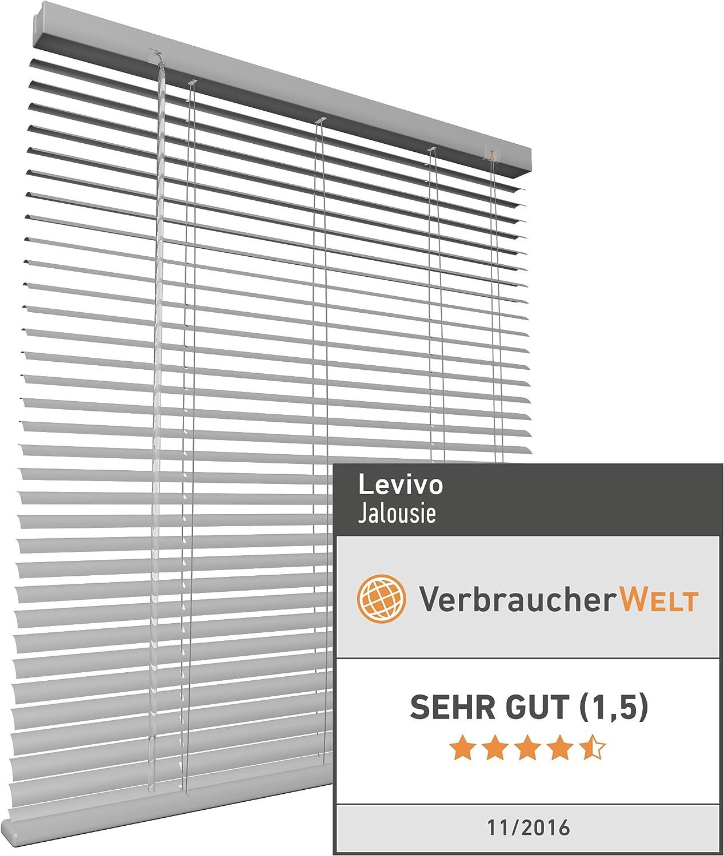 in der L/änge individuell k/ürzbar Wei/ß Levivo Aluminium-Jalousie mit Schnurzug 60 x 130 cm