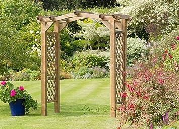 Arche de jardin Tonnelle Pergola Assise Treillis Bois Banc d ...