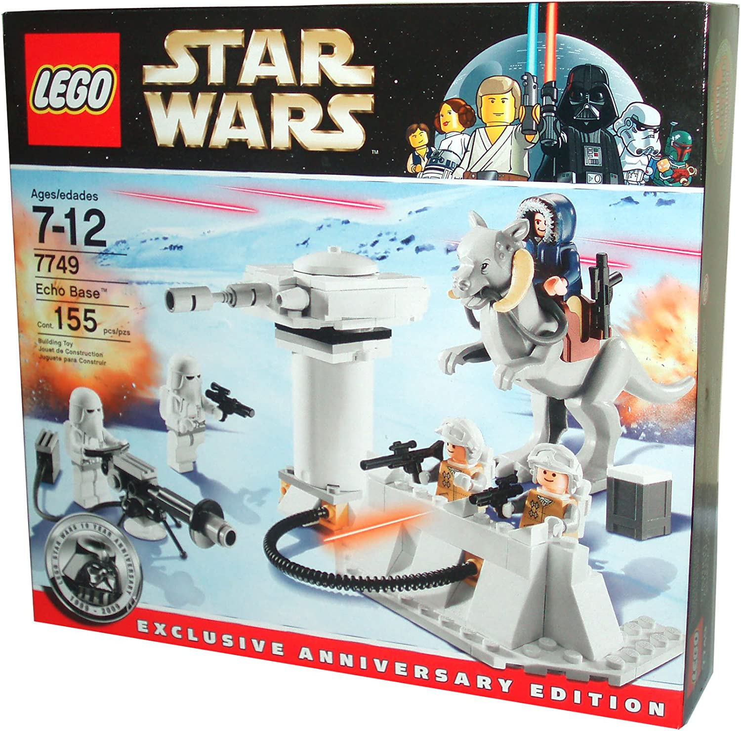 Lego Star Wars Series Exclusive Anniversary Edition Battle Scene Set # 7749 - ECHO BASE with 5 Minifigures (2 Snow Troopers with E-Web Blaster, 2 Rebel Troopers and Han Solo in Hoth Winter Gear) and Anti-Infantry Laser Battery with Opening Turret Door and Flick Fire Fissiles Plus First Time Ever Lego Tauntaun Figure (Total Pieces: 155)