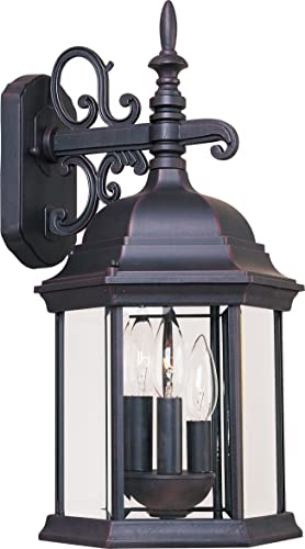 Maxim 1073CLEB Builder Cast Clear Glass Outdoor Wall Sconce, 3-Light 180 Watts, 19 H x 10 W, Empire Bronze