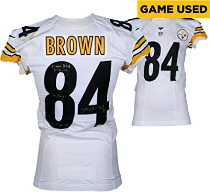 5334d2e037b Antonio Brown Pittsburgh Steelers Autographed Game-Used #84 White Jersey  vs. Baltimore Ravens