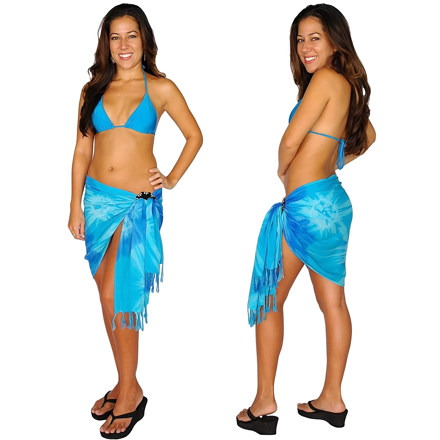 1 World Sarongs Womens Half Sarong//Mini Sarong Blues