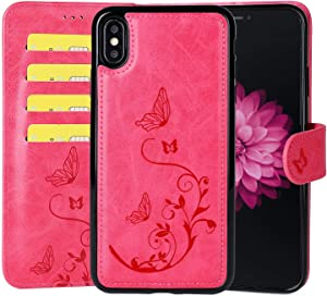 WaterFox iPhone XR Wallet Leather Case with 2 in 1 Detachable Cover, Women's Vintage Embossed Pattern with 3 Card Slots & Wrist Strap Case - Hot Pink
