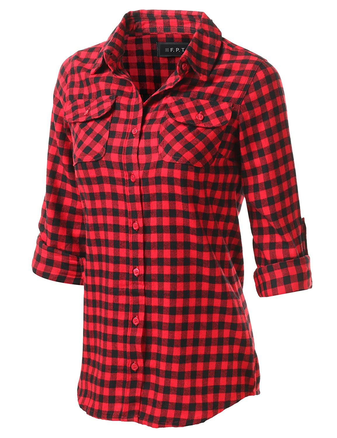 Bwpepr067_redblack Fifth Parallel Threads Women's Roll Up Long Sleeve Cotton Plaid Button Down Shirt BlackRed