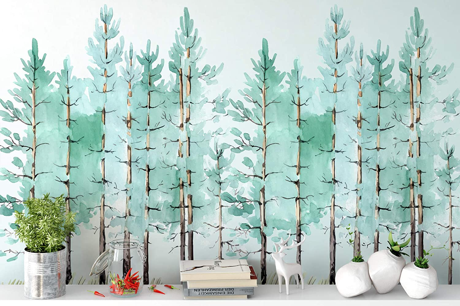 Amazon Com Murwall Modern Mint Green Tree Painting Forest