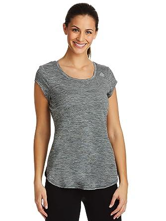 5496678b9f305 Reebok Women's Legend Performance Top Short Sleeve T-Shirt - Legend Black  Heather, Small
