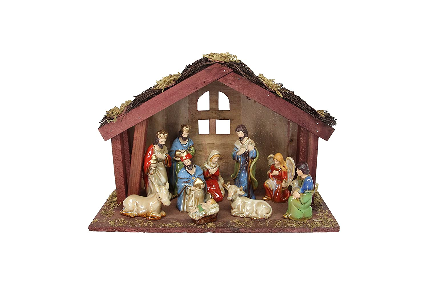 11 Piece Ceramic Nativity with Wooden Stable by Gisela Gisela Graham