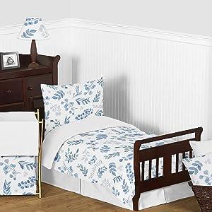 Sweet Jojo Designs Floral Leaf Boy Girl Toddler Kid Childrens Comforter Bedding Set - 5 Pieces Comforter, Sham and Sheets - Blue Grey White Boho Watercolor Botanical Flower Woodland Tropical Garden