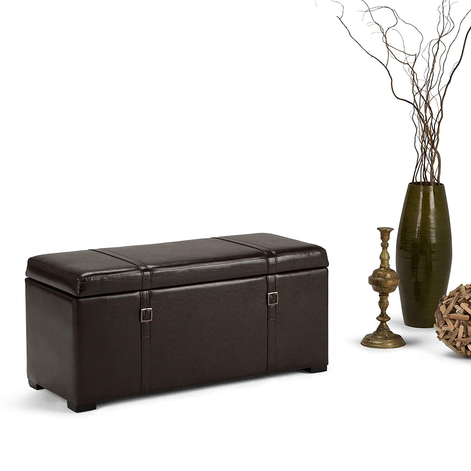 WyndenHall Waterford 5-piece Storage Ottoman Bench Black CCT Global Sourcing