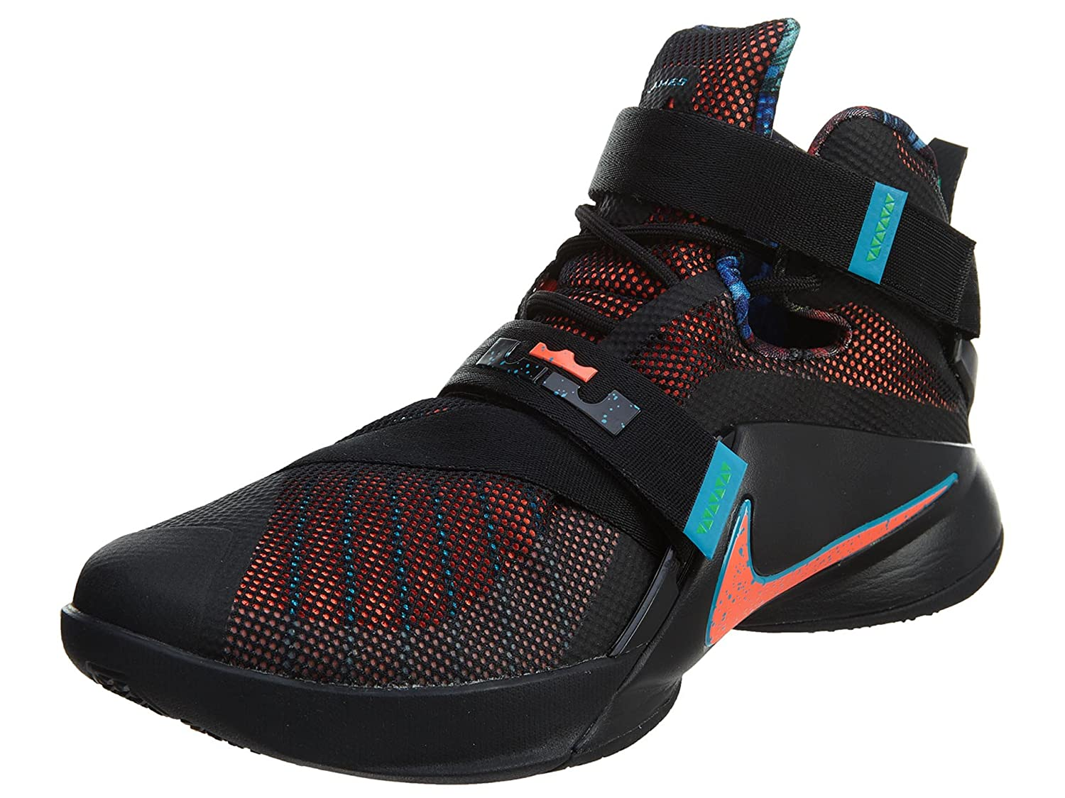 new styles d8932 99c86 Amazon.com   NIKE Lebron Soldier IX Mens Basketball-Shoes 749417-084 11.5 -  Black Blue Lagoon Green Shock Hyper Orange   Basketball