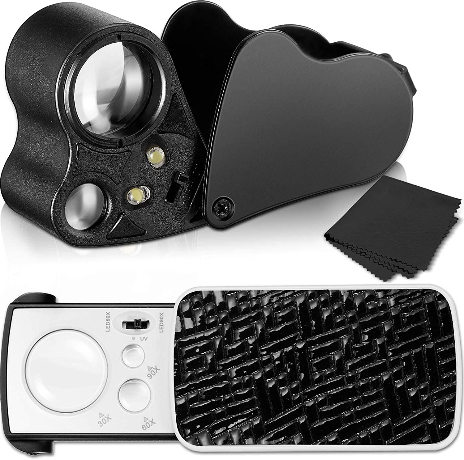 Coins Gems 2 Pieces Jewelers Loupe 30X 60X 90X Illuminated Jewelers Eye Loupe Magnifier Portable Jewelry Loupe Magnifier with UV Black Light and Bright LED Light for Jewelry Diamonds Stamps Rocks