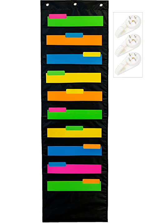 School Savings Hanging Document Organizer (Black) U2013 10 Large Wall Pockets  For Important Home