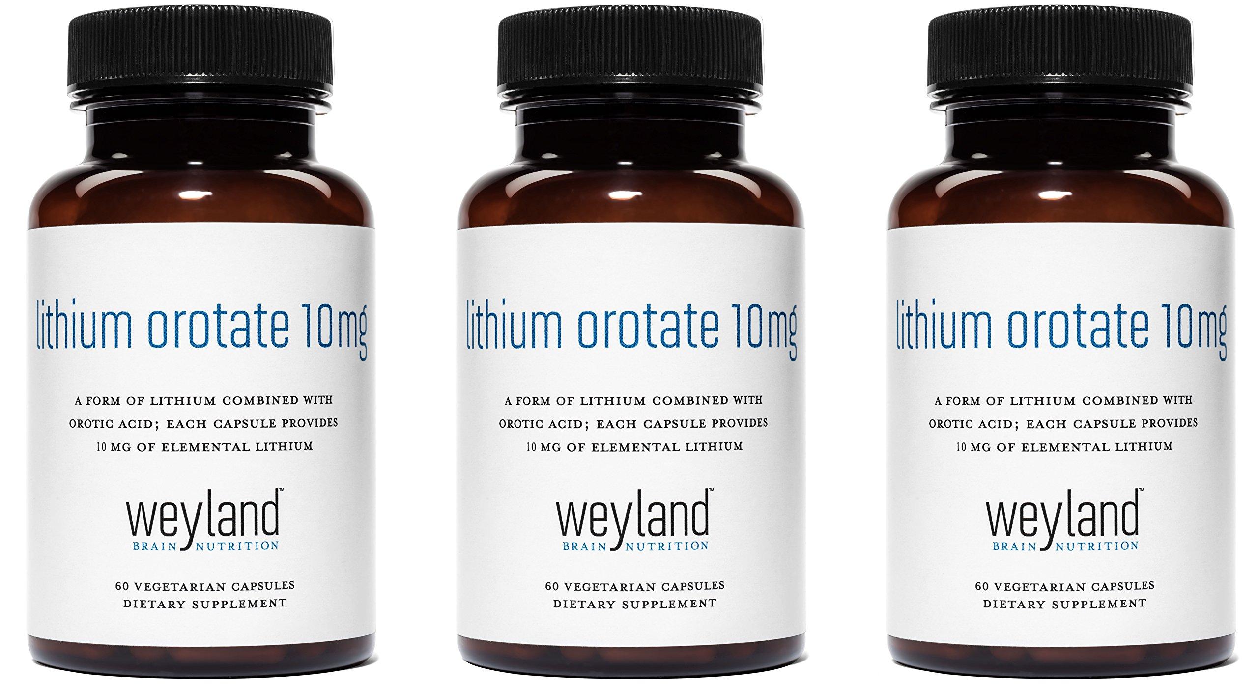 Weyland: Lithium Orotate - 10mg of Elemental Lithium (as Lithium Orotate) per Vegetarian Capsule (3 Bottles)