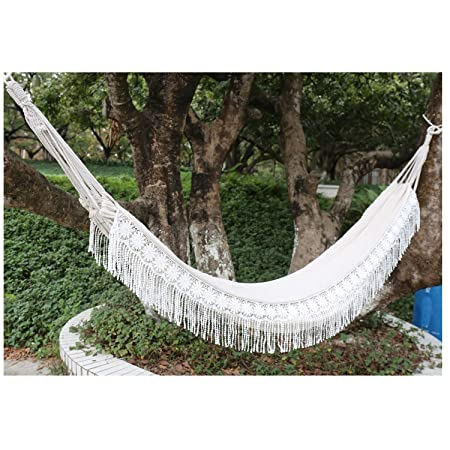 Langjitianya Handmade Brazilian Natural Ecru Cotton Hand Woven Hammock with White Crochet Fringe, Deluxe Style Beautiful White Lace Wedding Hammock Festive Brazil 79 Lx59 W 2 Adults