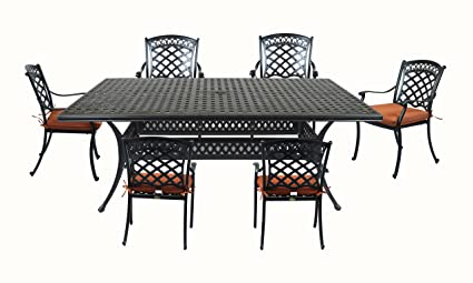 Summerset Patio Furniture.Amazon Com Summerset Casual St Tropez Aluminum 7 Piece Rectangular