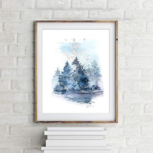 Amazon Com Pine Trees Art Print Blue Christmas Trees Watercolor