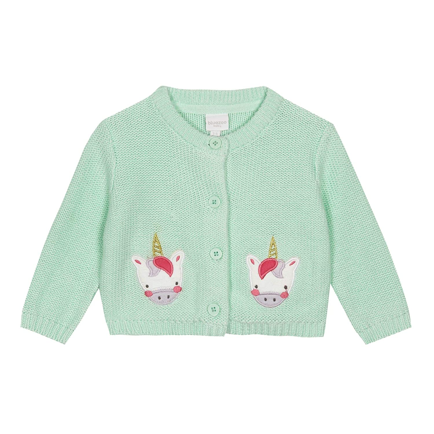 bluezoo Kids Baby Girls' Aqua Unicorn Cardigan