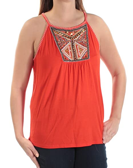 ff06f0b239bde INC Womens Embroidered Embellished Blouse Orange L at Amazon Women s  Clothing store