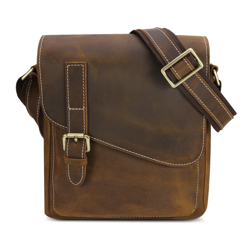 Kattee Small Leather Messenger Bag, Men s Crossbody Shoulder Bag