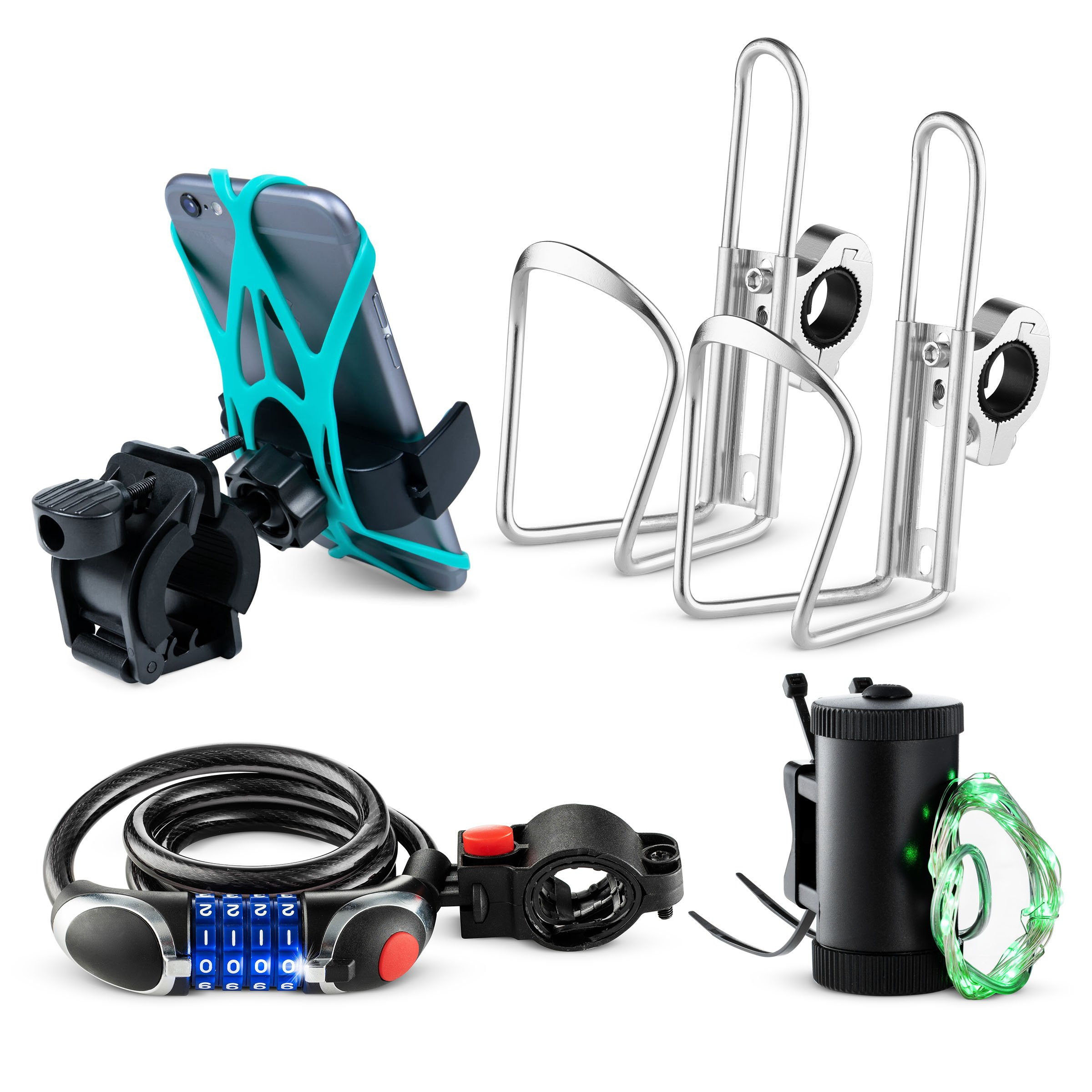 Bikes On Hikes 5 Piece Bike Accessory Kit Green - Includes Handle Bar Cup Holder (2), Led Wheel Light (1), LED Combination Lock (1), Phone Mount (1) - Perfect All in One Set for Bike/MTB Riding