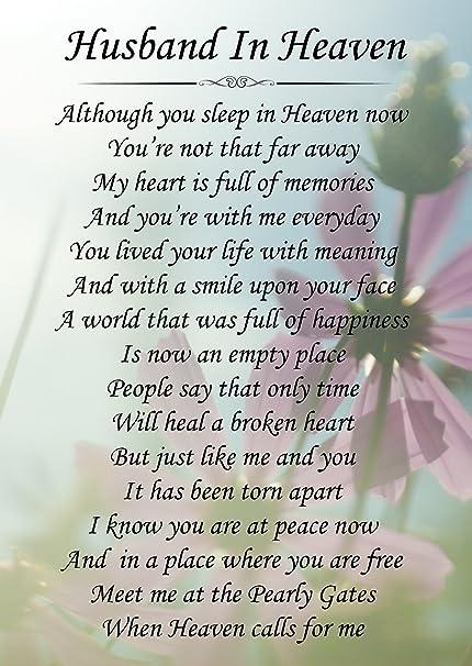 Husband In Heaven Memorial Graveside Poem Keepsake Card Includes