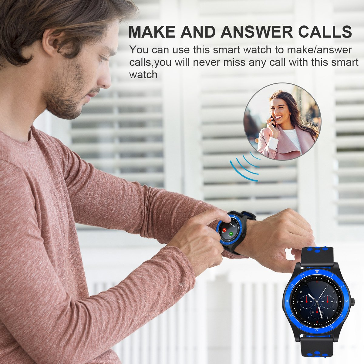 Smart Watch,Bluetooth Smartwatch Touch Screen Wrist Watch with Camera/SIM Card Slot,Waterproof Phone Smart Watch Sports Fitness Tracker for Android iPhone IOS Phones Samsung Huawei for Kids Women Men by Topffy (Image #6)