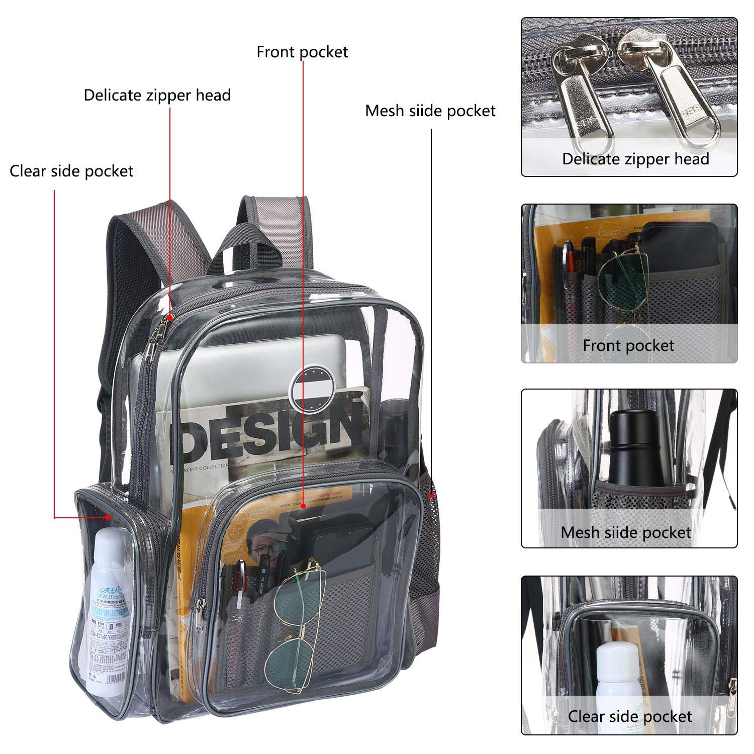 Amazon.com: FOONEE Heavy Duty Clear Backpack, PVC Transparent Backpack Big Clear Backpack for Adults and Teenager, Multi-Pockets See Through Bookbag for ...