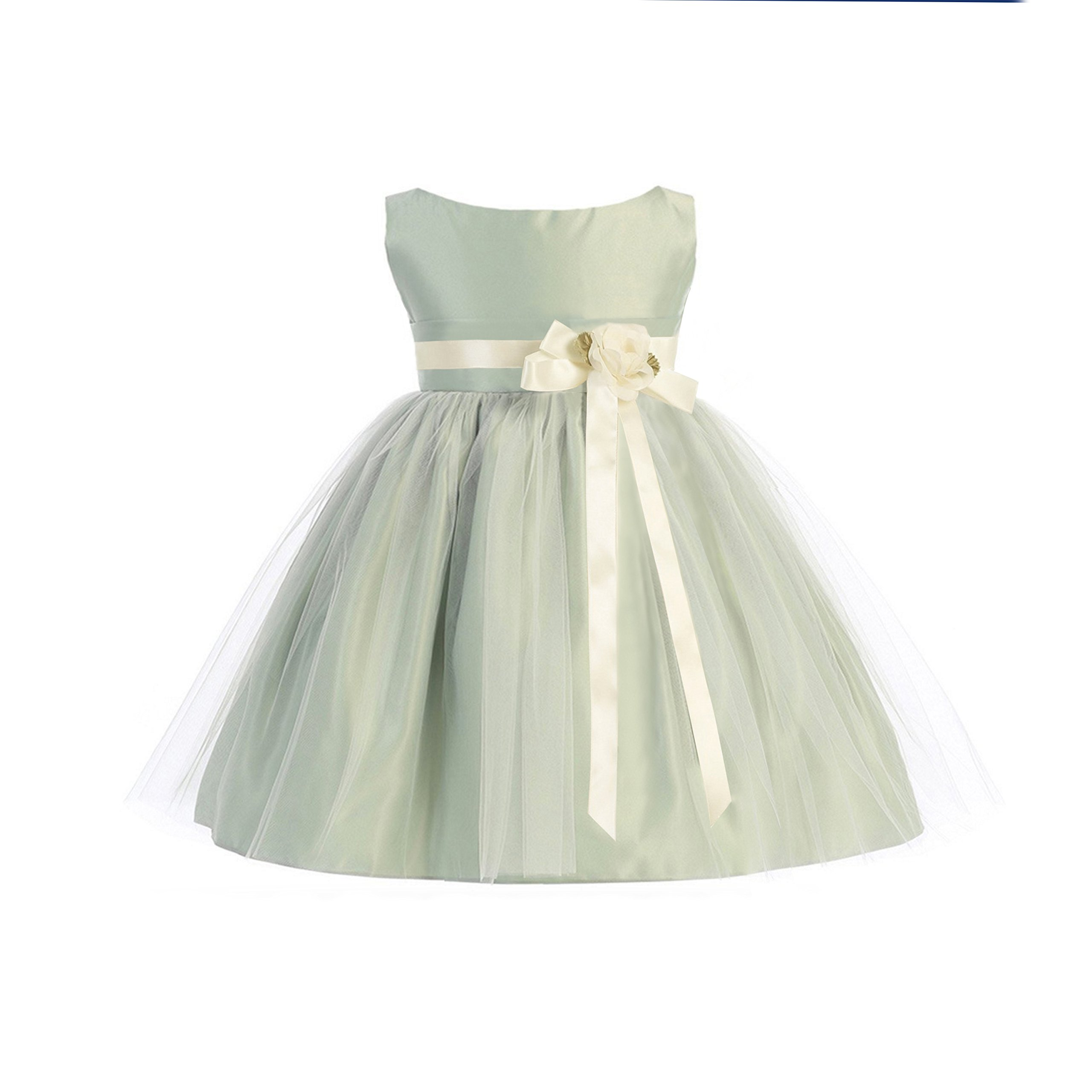 89aeab91cd Galleon - Sweet Kids Girls Vintage Satin Tulle Special Occasion Flower-  Medium   6-12 Months - Sage