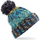 2d7e78e20e0 Beechfield Corkscrew Knitted Lined Beanie Bobble Hat BC486 Colour Marine  Splash