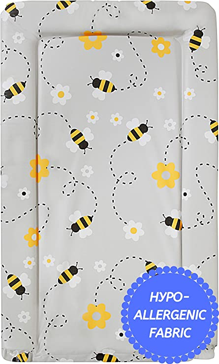 Soft Padded Waterproof Wipe Clean Callowesse® Baby Changing Mat Grey Bee