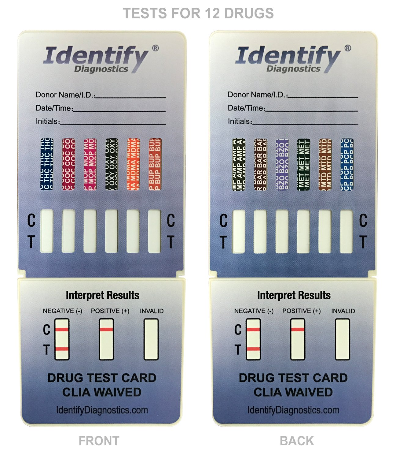 5 Pack Identify Diagnostics 12 Panel Drug Test Dip with Low Opiates Cutoff - Testing Instantly for 12 Drugs: THC, COC, MOP, OXY, MDMA, BUP, AMP, Bar, BZO, MET, MTD, PCP #ID-CP12-DIP