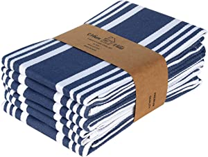 Urban Villa Kitchen Towels,Trendy Stripes, 100% Cotton Dish Towels,Mitered Corners, (Size: 20X30 Inch), Indigo Blue/White Highly Absorbent Bar Towels & Tea Towels - (Set of 6)